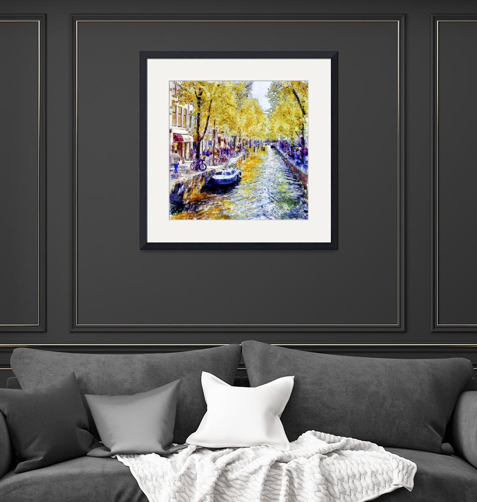 """""""Amsterdam Canal watercolor""""  (2015) by MarianVoicu"""