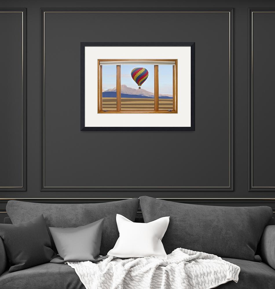 """""""Hot Air Balloon Colorado Wood Picture Window"""" (2012) by lightningman"""