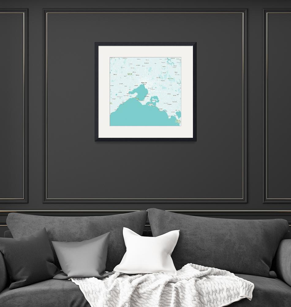 """Minimalist Modern Map of Melbourne, Australia 4""  by motionage"
