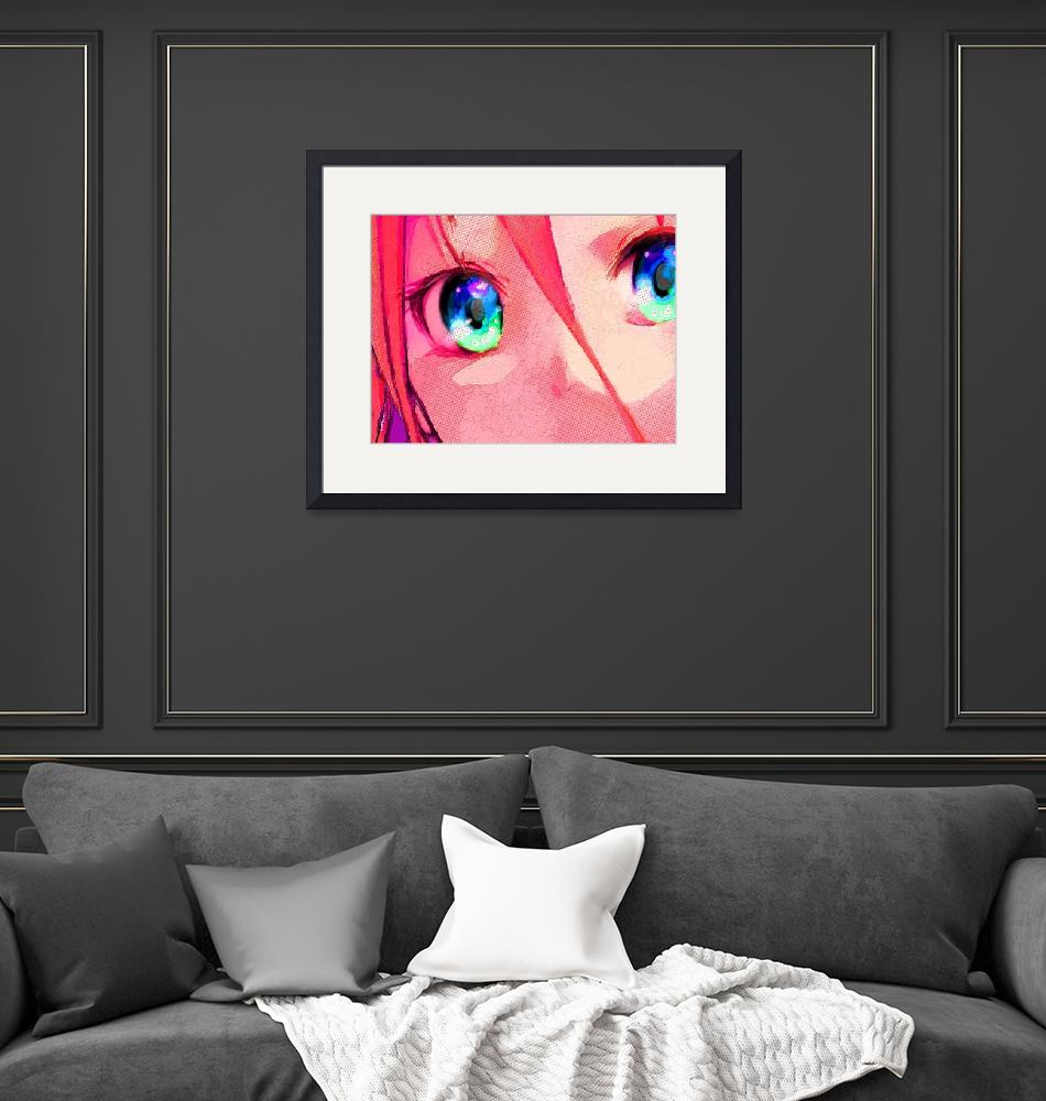 """Anime Girl Eyes Red""  (2018) by RubinoFineArt"
