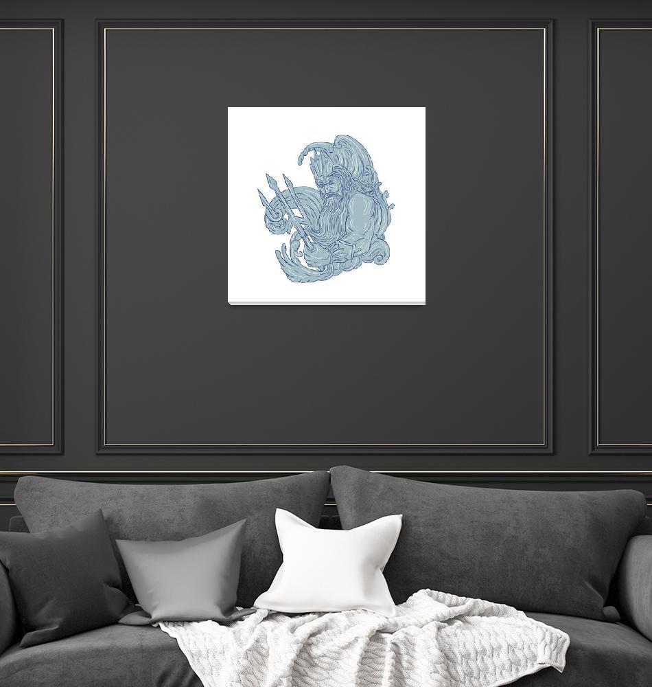 """""""Poseidon Trident Waves Drawing""""  (2017) by patrimonio"""