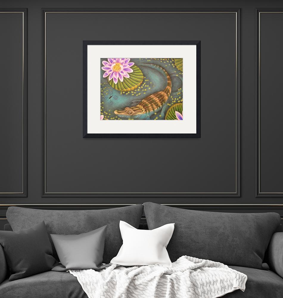 """""""Baby Alligator and Lotus""""  (2009) by JacquelynBraxton"""
