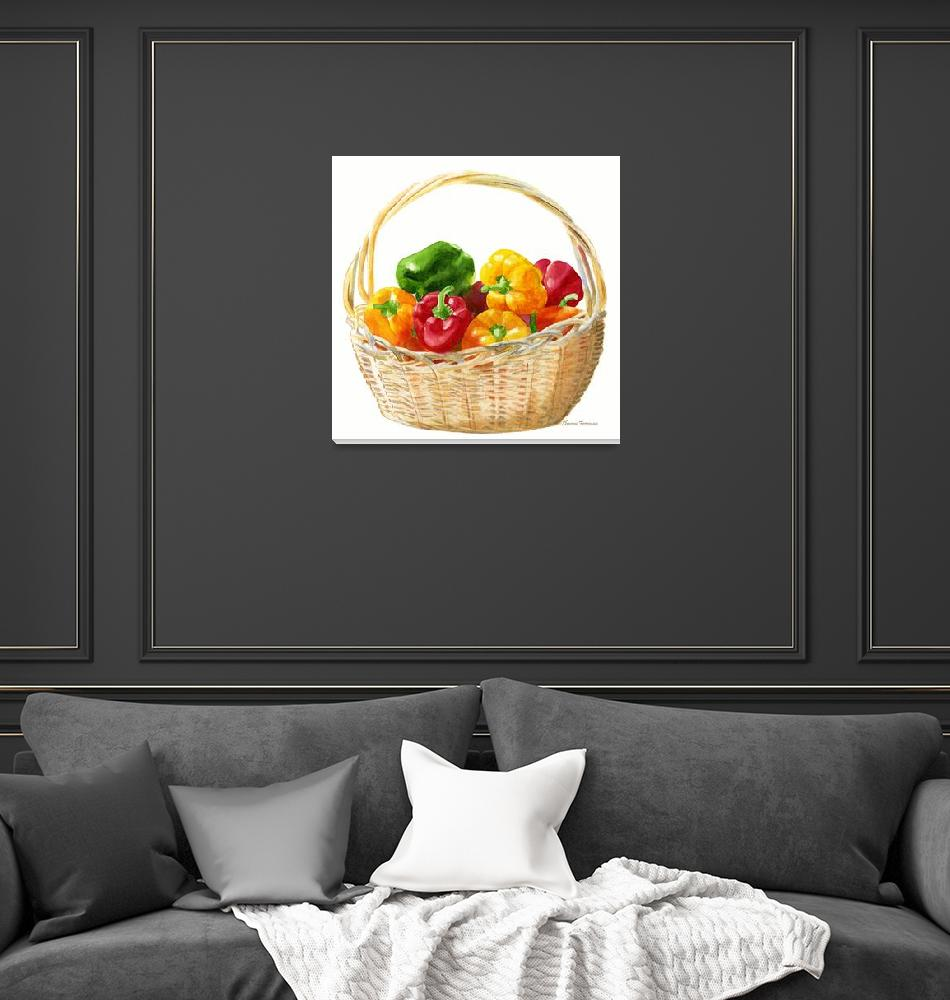 """""""Basket of Peppers, Square Design""""  (2010) by Pacific-NW-Watercolors"""