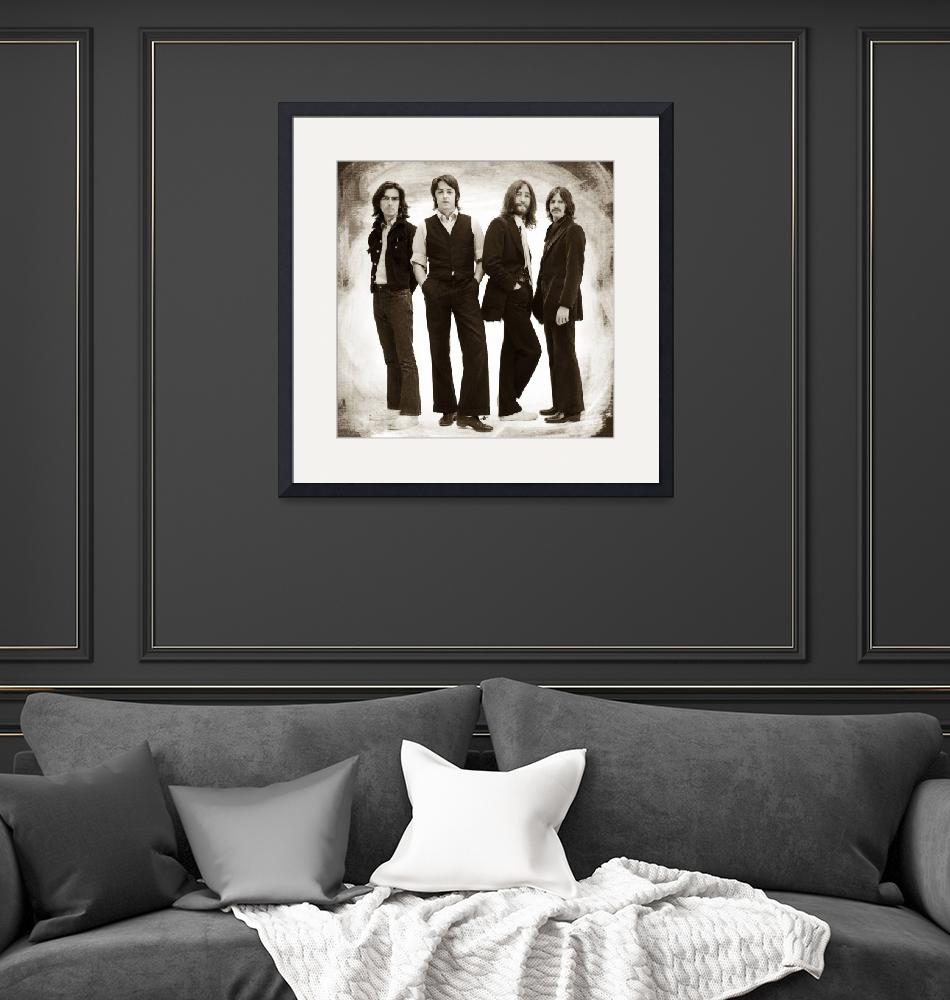 """""""The Beatles Painting Late 1960s Early 1970s Sepia""""  by RubinoFineArt"""