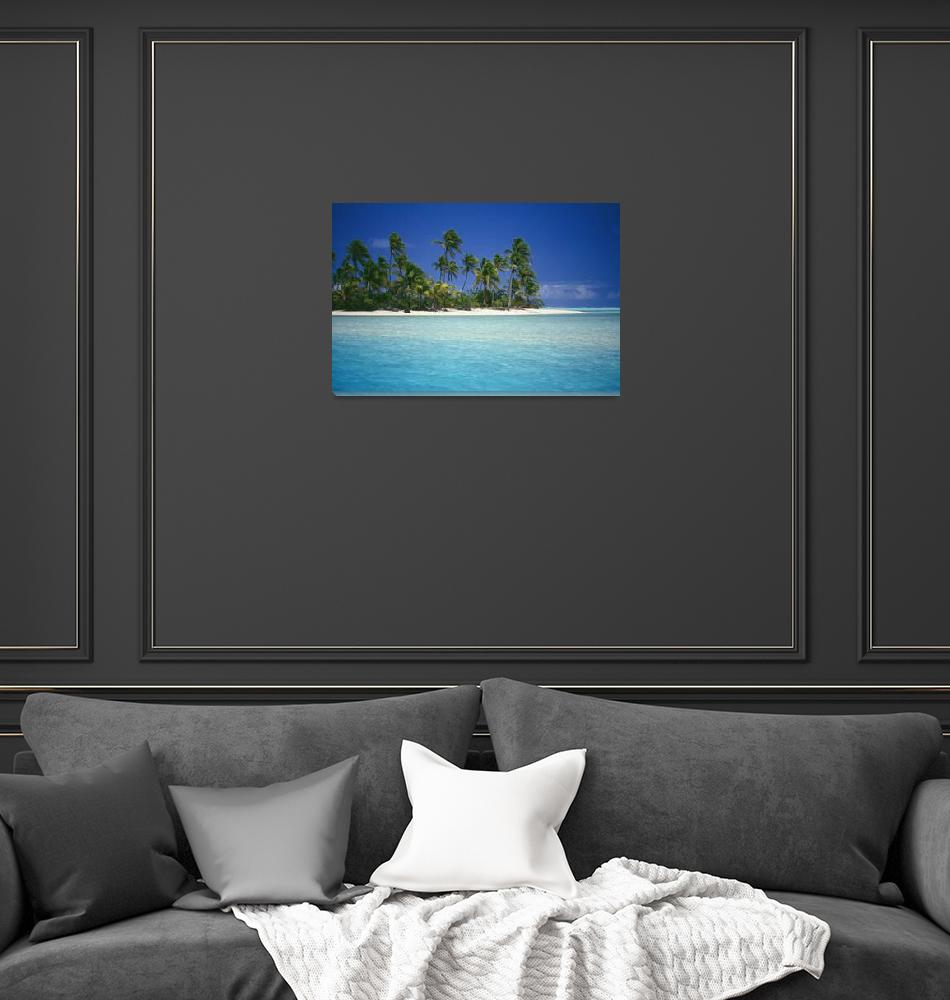 """Cook Islands, Coastal Scenic Of Island With Palm T""  by DesignPics"