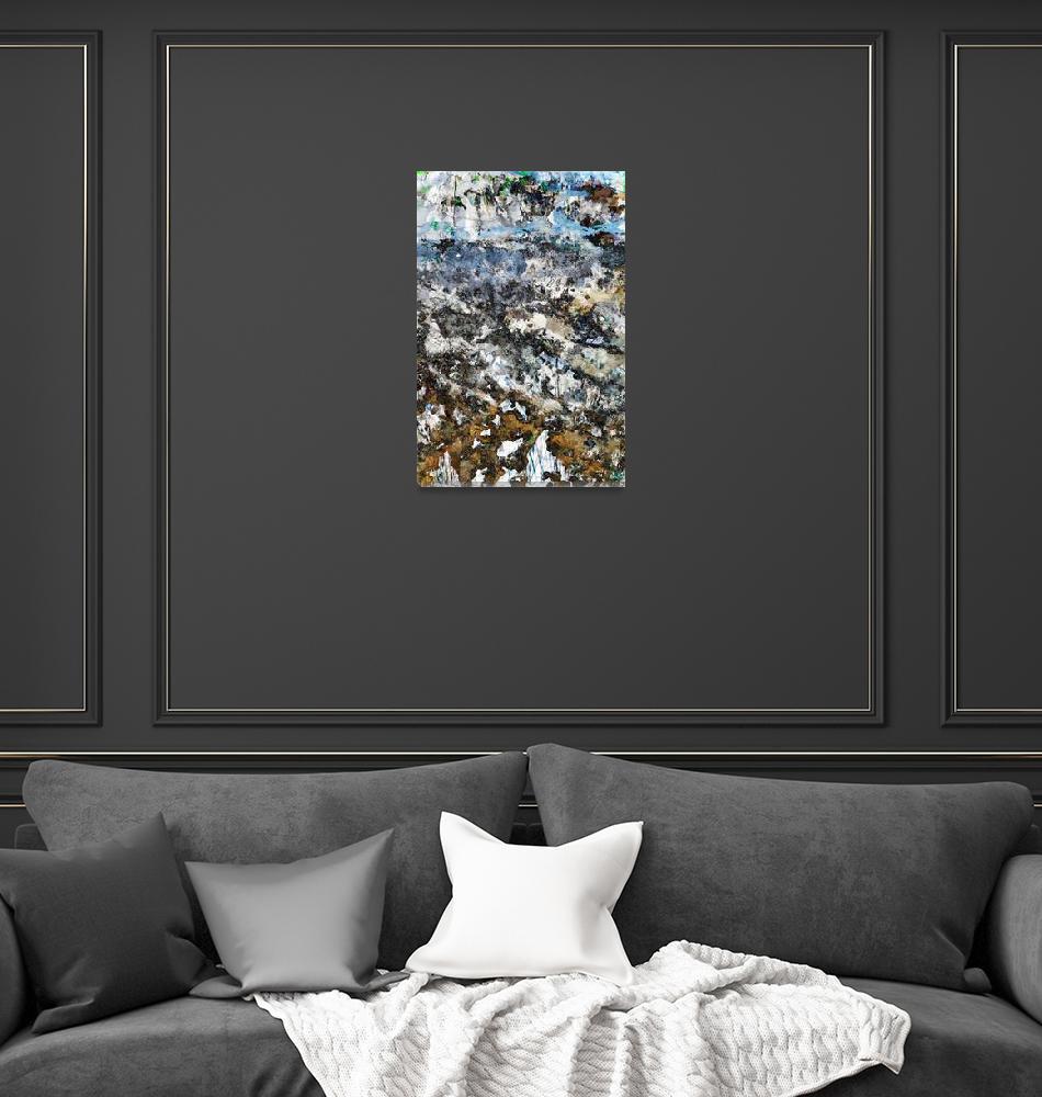 """Gravitating alpenglow sketches Lamarck Col boulder""  (2015) by ArtOfGeography"