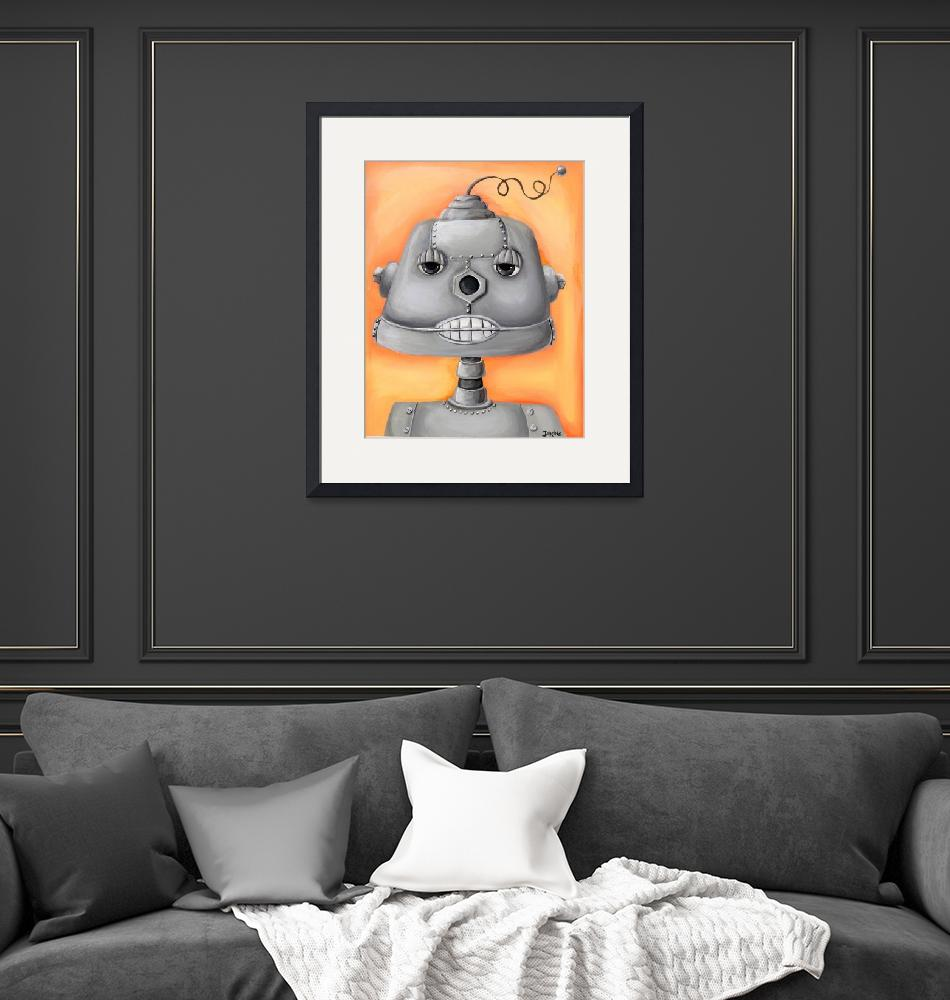 """Robot with Orange Background""  (2010) by jjweststudio"