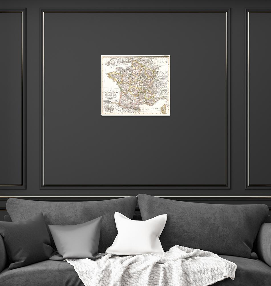 """""""Vintage Map of France (1850)""""  by Alleycatshirts"""