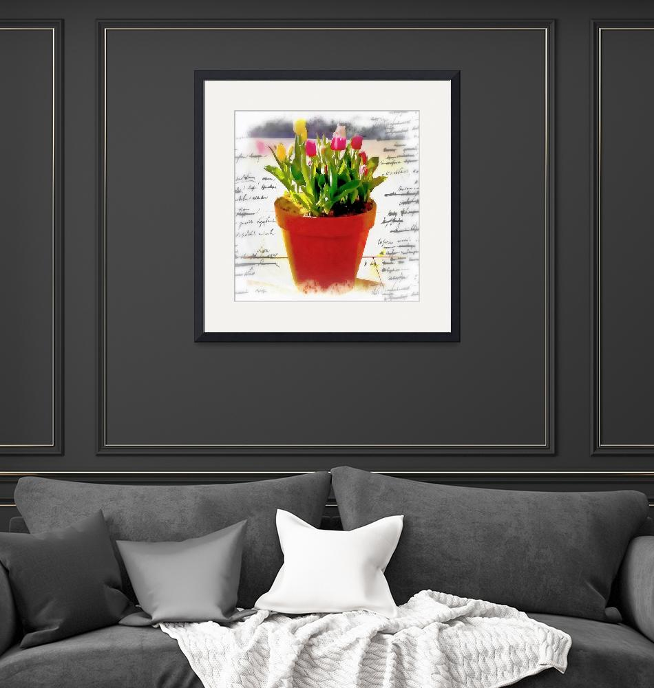 """""""Watercolor pot of tulips""""  (2015) by lizmix"""