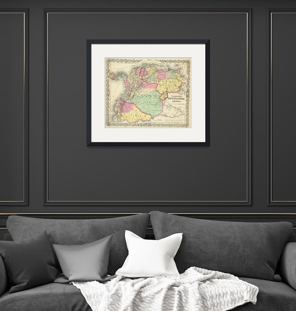 """Vintage Map of Venezuela, Ecuador, Colombia (1855)""  by Alleycatshirts"