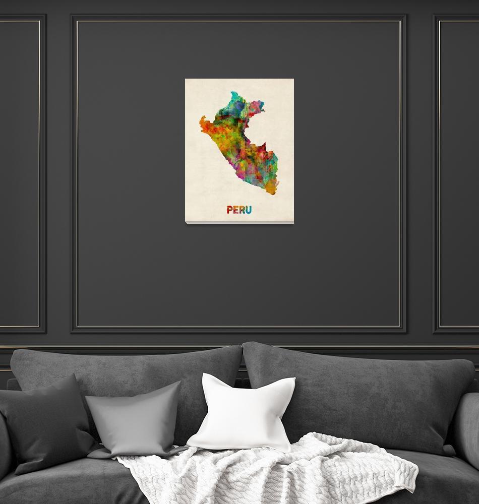 """Peru Watercolor Map""  by ModernArtPrints"