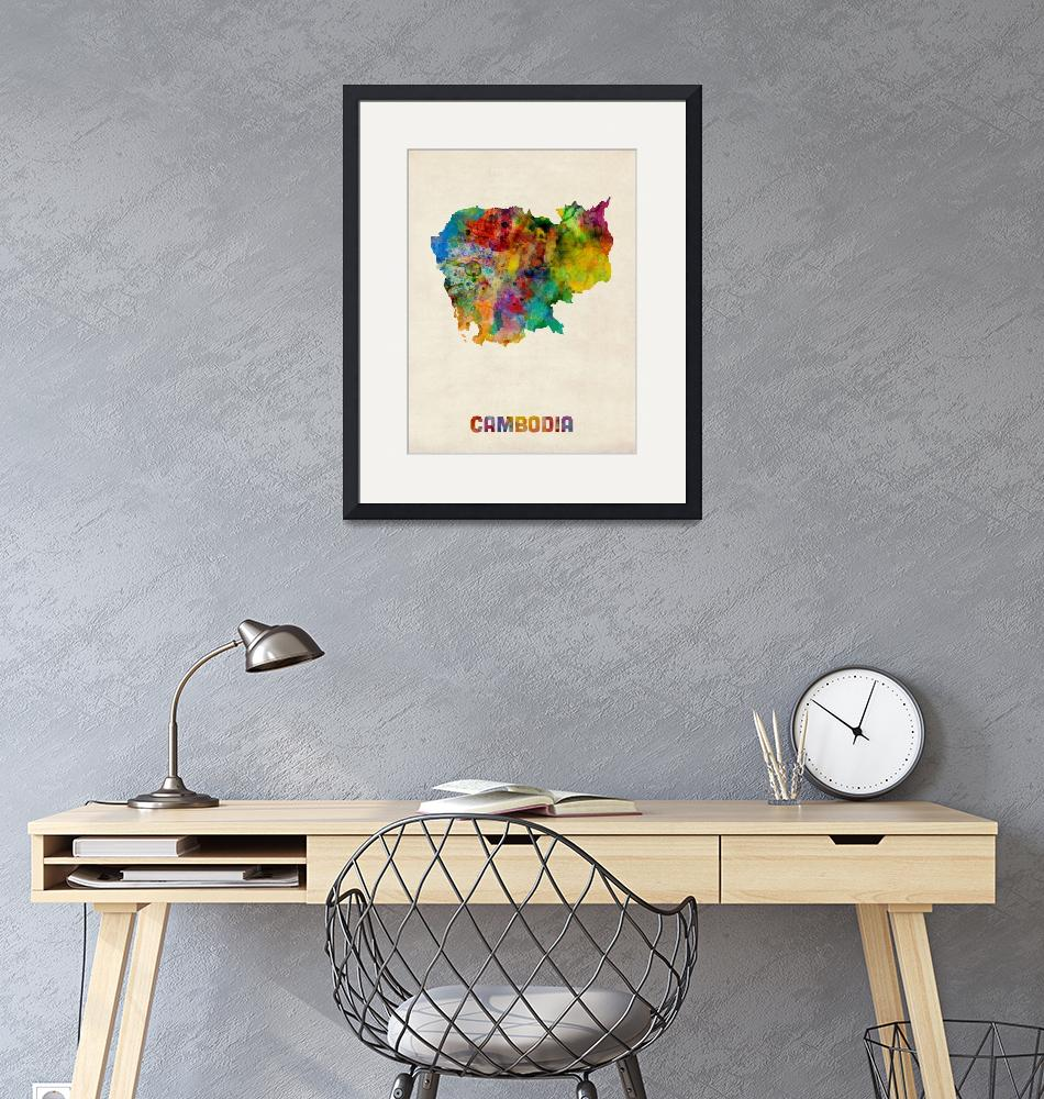 """Cambodia Watercolor Map""  (2014) by ModernArtPrints"