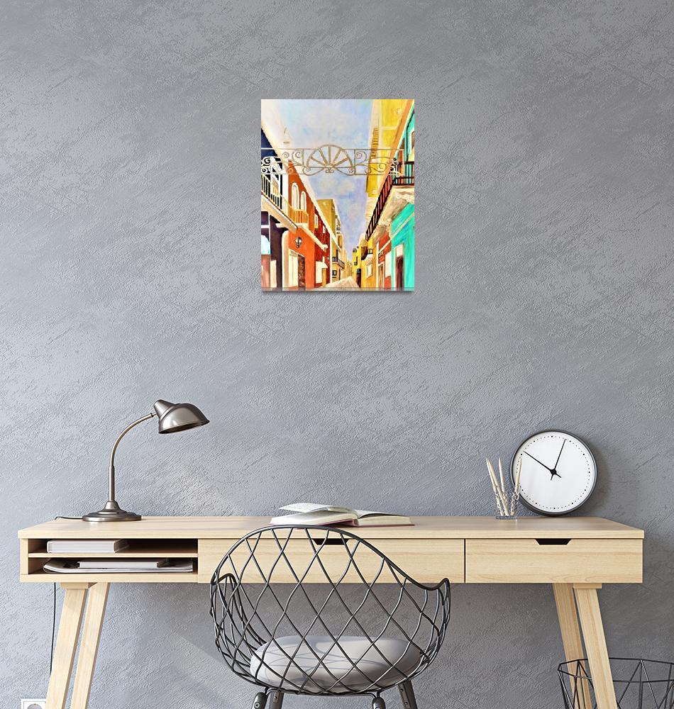 """Impressionist Old San Juan Painting in Cinnabar""  by EloiseArt"