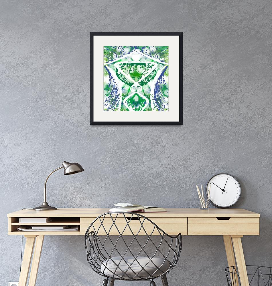"""""""Blue Green and White Geometric Abstract""""  (2015) by TolliverArts"""
