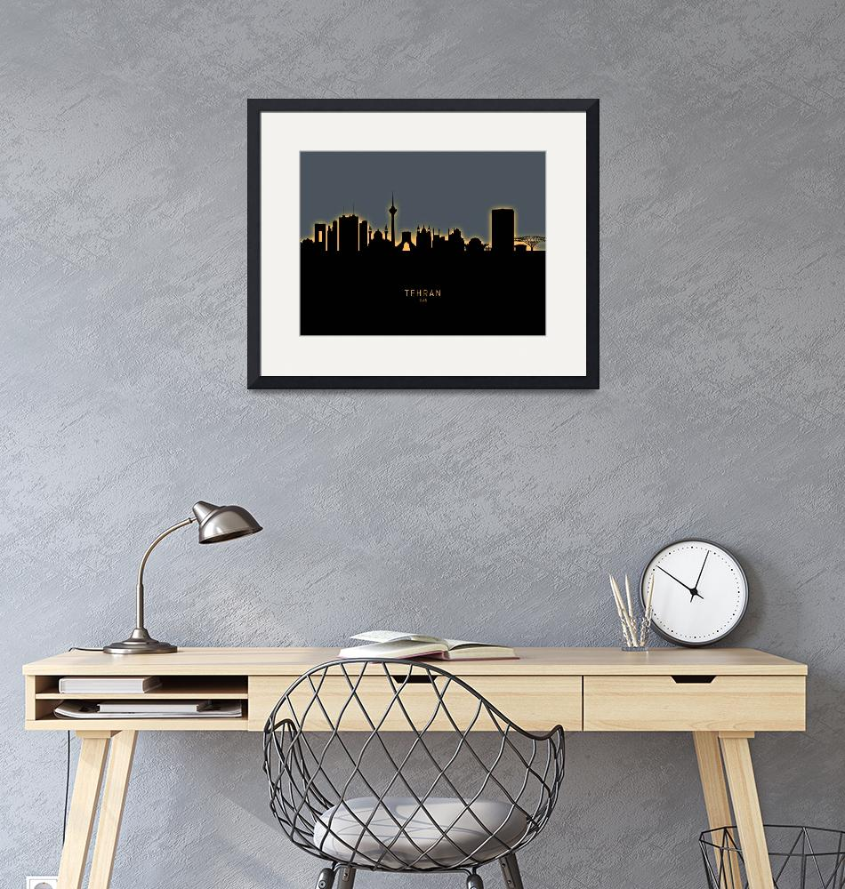 """Tehran Iran Skyline""  (2019) by ModernArtPrints"
