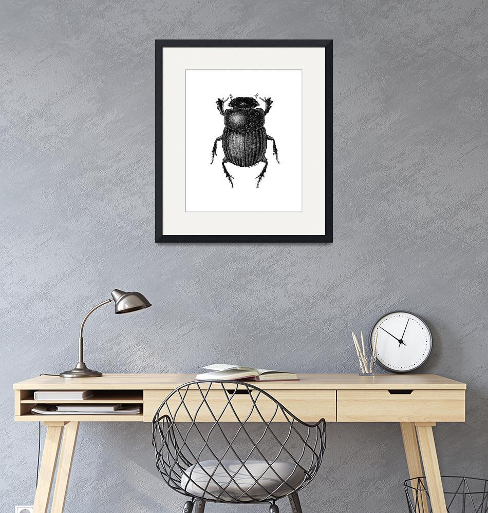 """""""dungbeetle-edited9x11in-gray""""  (2016) by lanakoepkejohnson"""