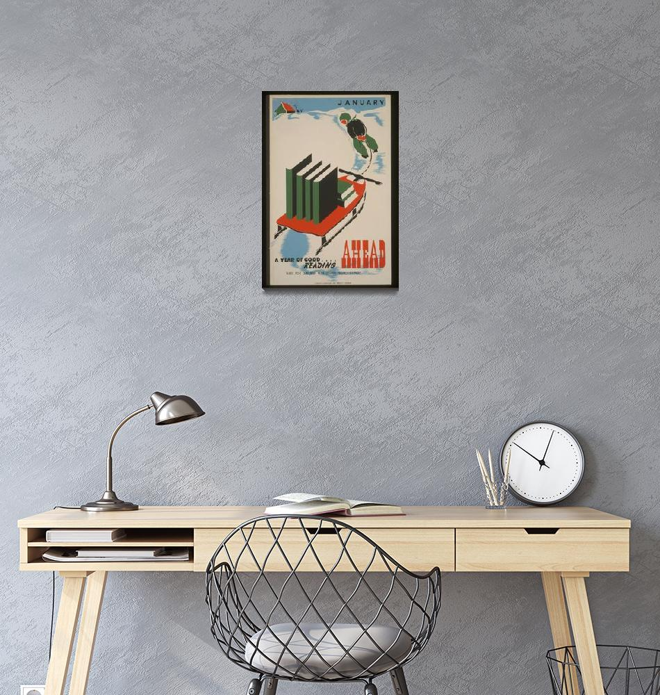 """""""A Year of Good Reading Vintage Poster""""  by FineArtClassics"""