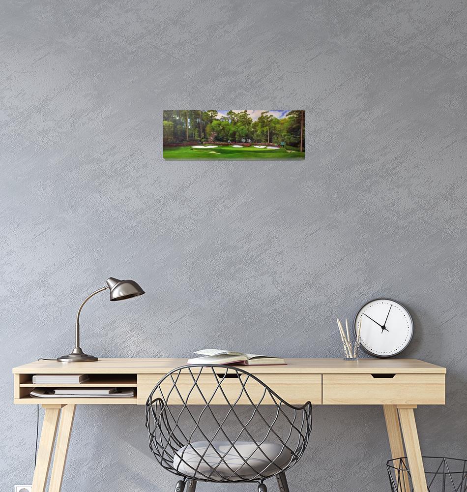 """Augusta National 13 Art Azalea Panorama""  by Richimage"