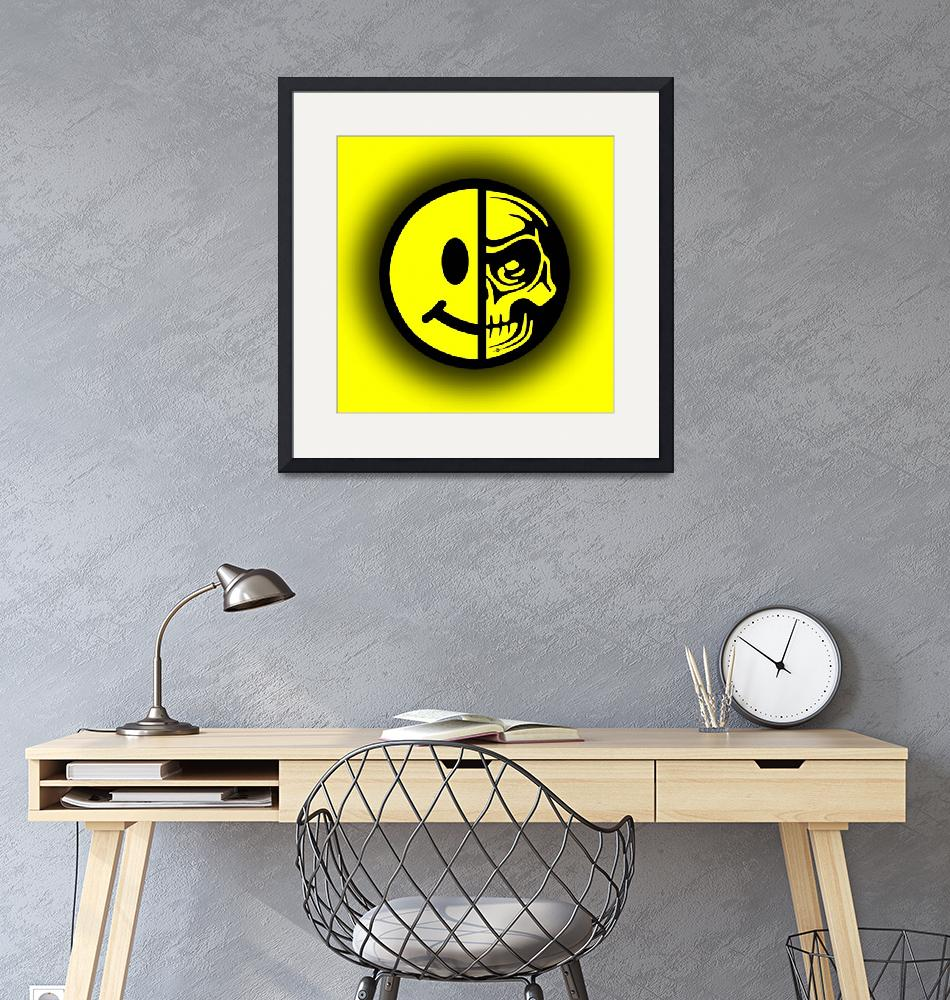 """""""Smiley Face Skull Yellow Shadow""""  (2018) by RubinoFineArt"""