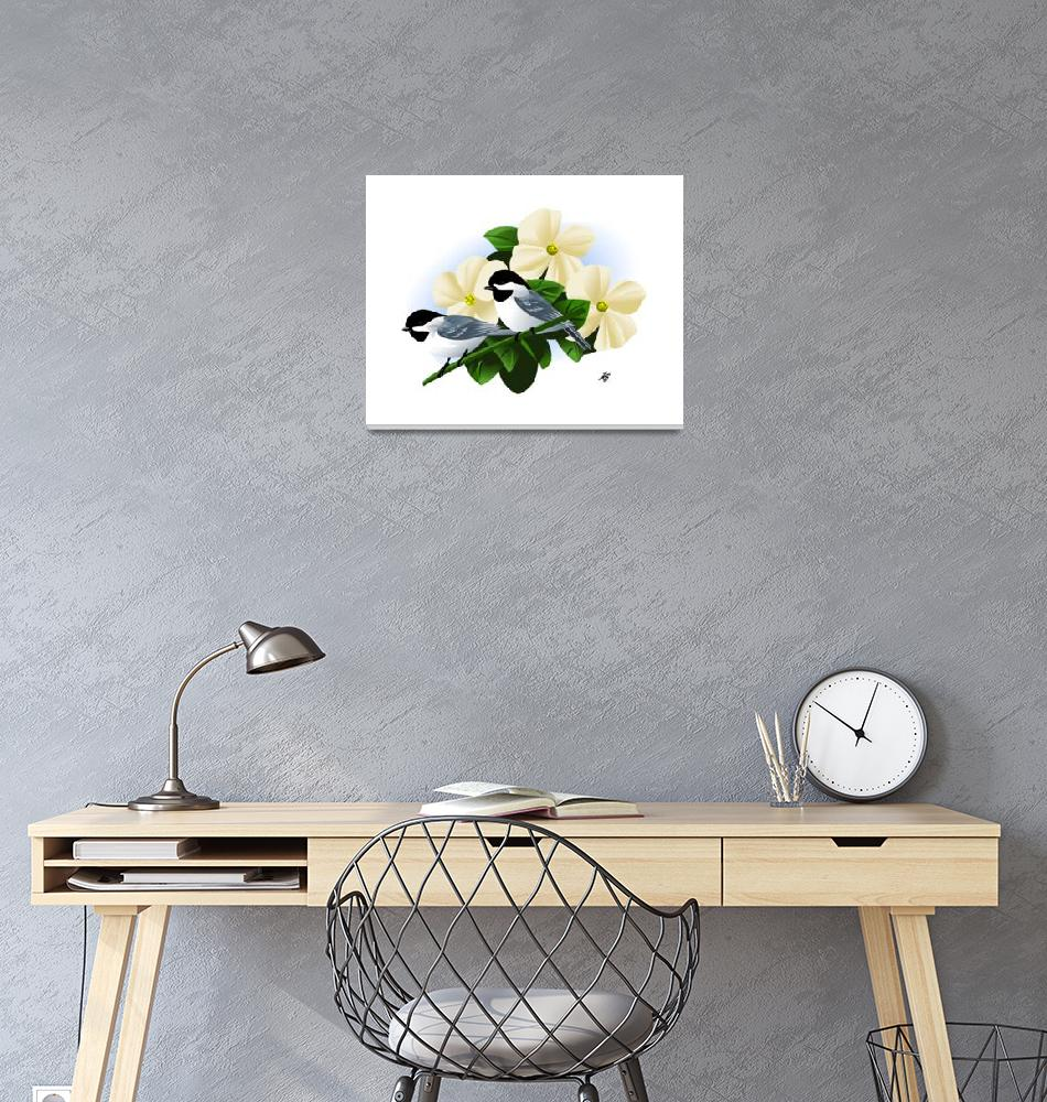 """Black Capped Chickadee Art""  by waterart"