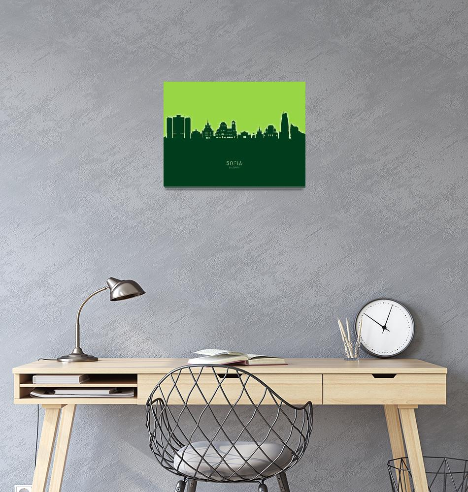 """Sofia Bulgaria Skyline""  (2020) by ModernArtPrints"