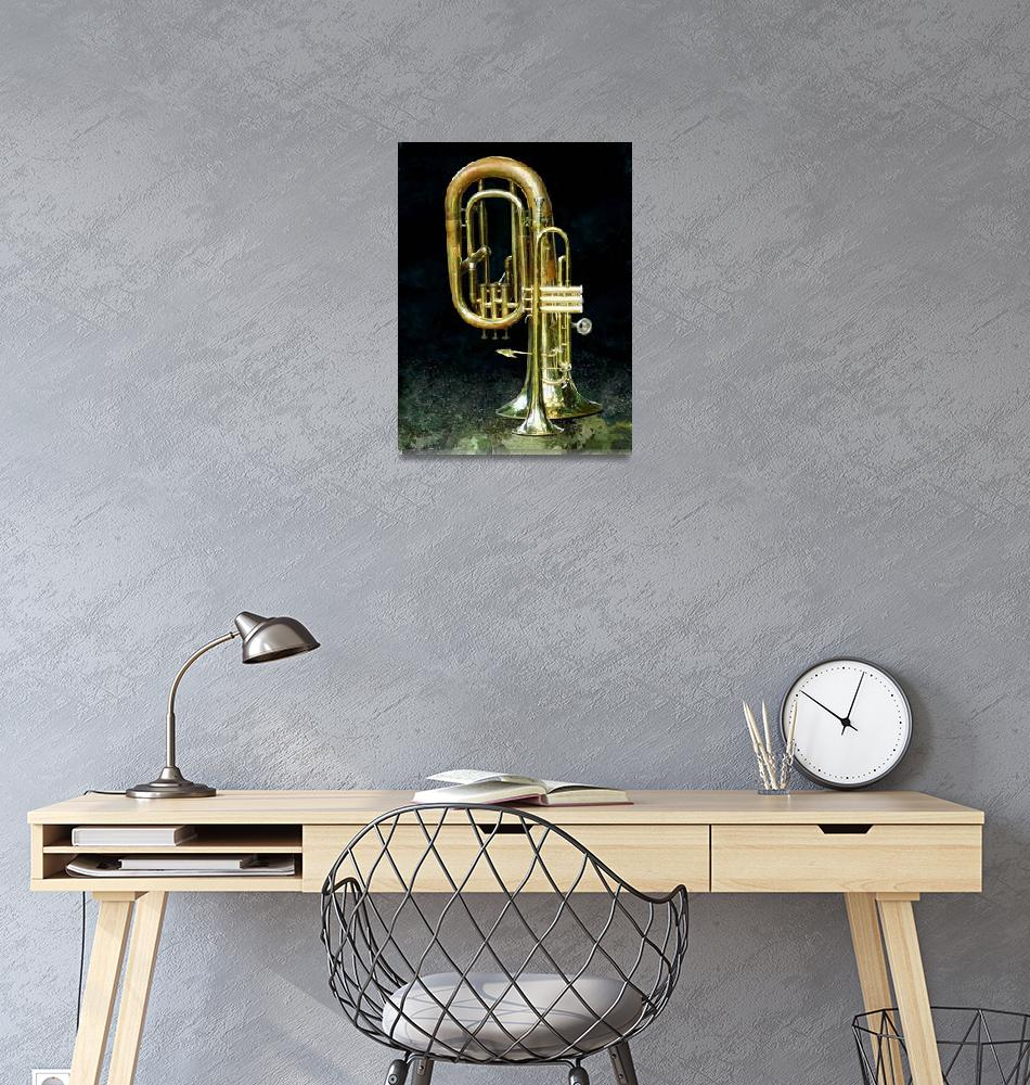 """""""Trumpet and Tuba""""  (2010) by susansartgallery"""
