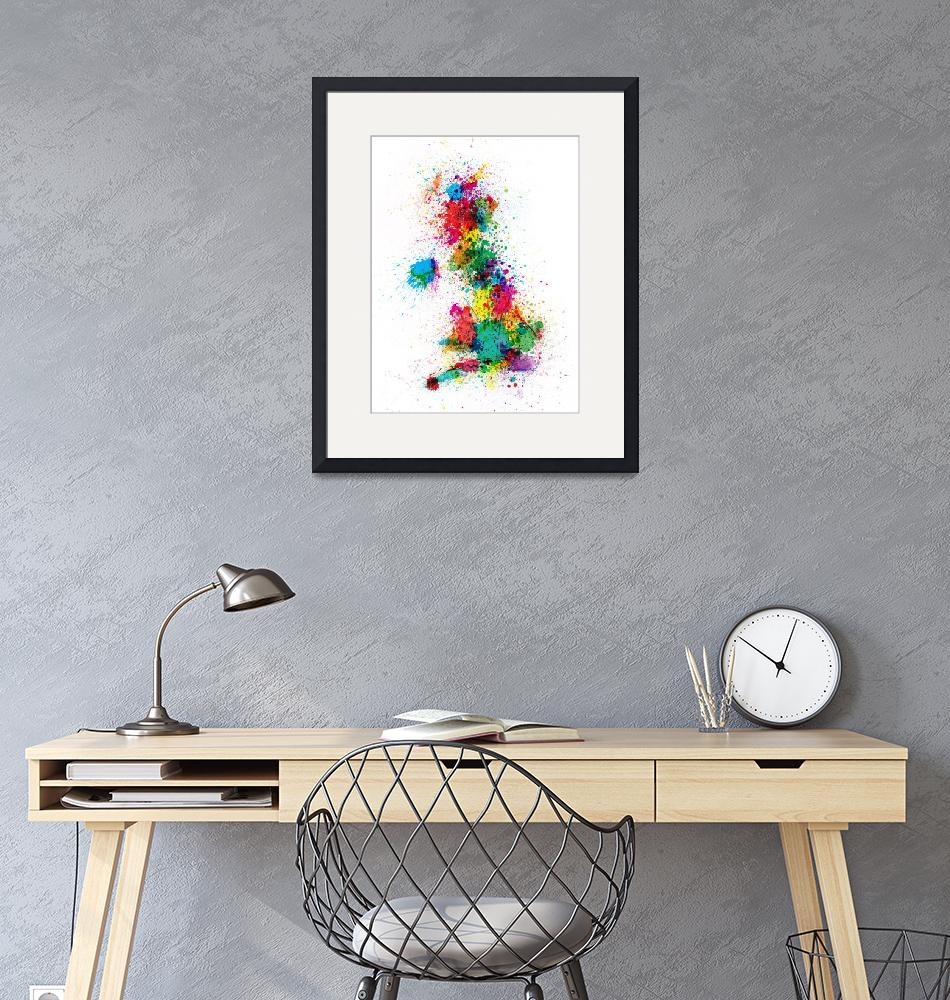 """Great Britain UK Map Paint Splashes""  (2012) by ModernArtPrints"