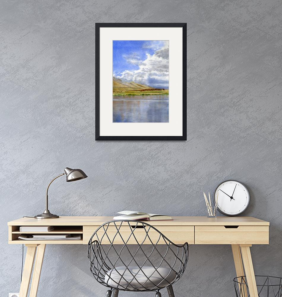 """""""Columbia River Sky with Clouds vertical design""""  (2014) by Pacific-NW-Watercolors"""
