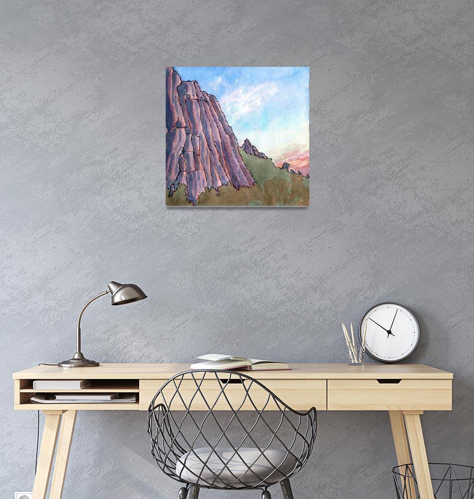 """""""Limestone Cliffs at Dusk""""  (2011) by ElizabethAFox"""