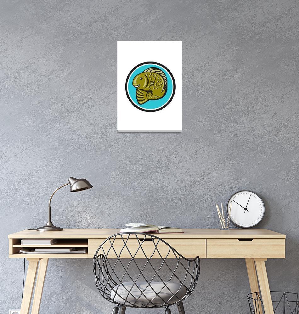 """Trout Fish Jumping Circle Cartoon""  (2014) by patrimonio"
