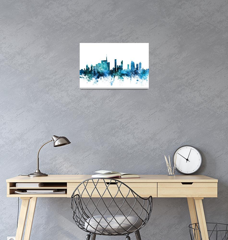 """Milan Italy Skyline""  (2018) by ModernArtPrints"