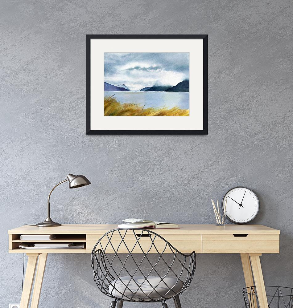 """""""Stormy Sky over Turnagain Arm""""  (2009) by Pacific-NW-Watercolors"""