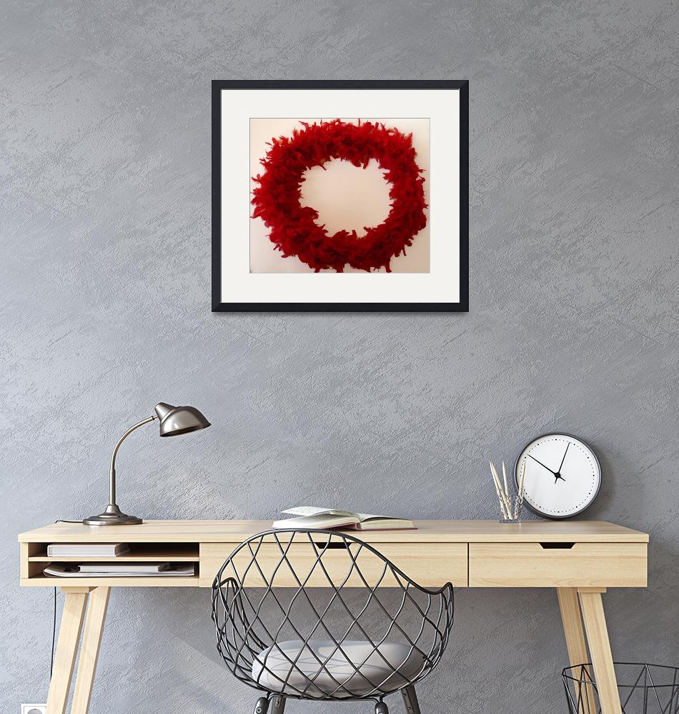 """""""Red Feather Circle Frame""""  (2009) by BarbaraIreland"""