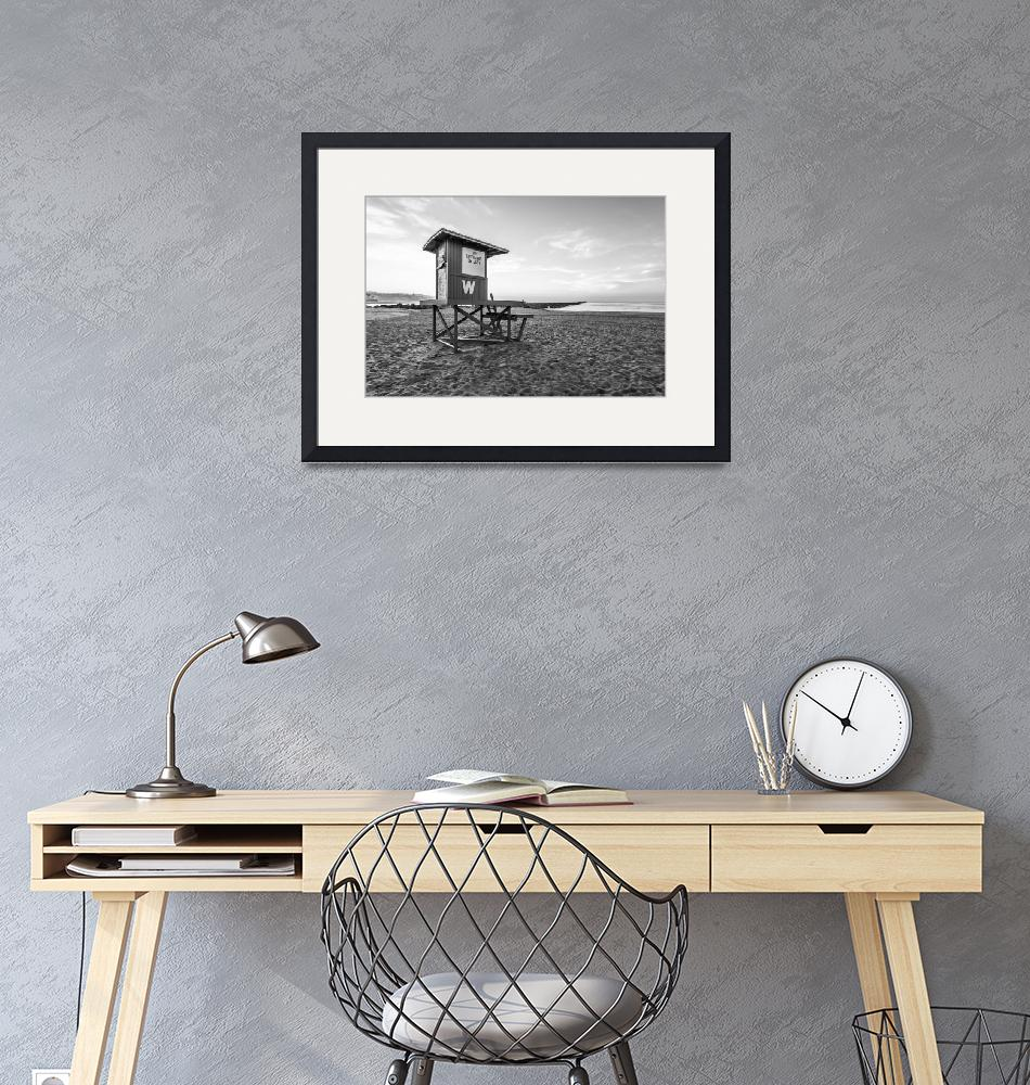 """""""Newport Beach Wedge Lifeguard Tower Black and Whit""""  (2010) by PaulVelgos"""