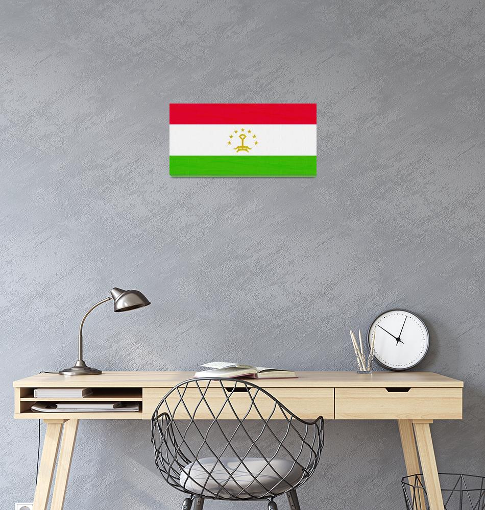 """""""Flag of Tajikistan ,  County Flag Painting ca 2020""""  by motionage"""
