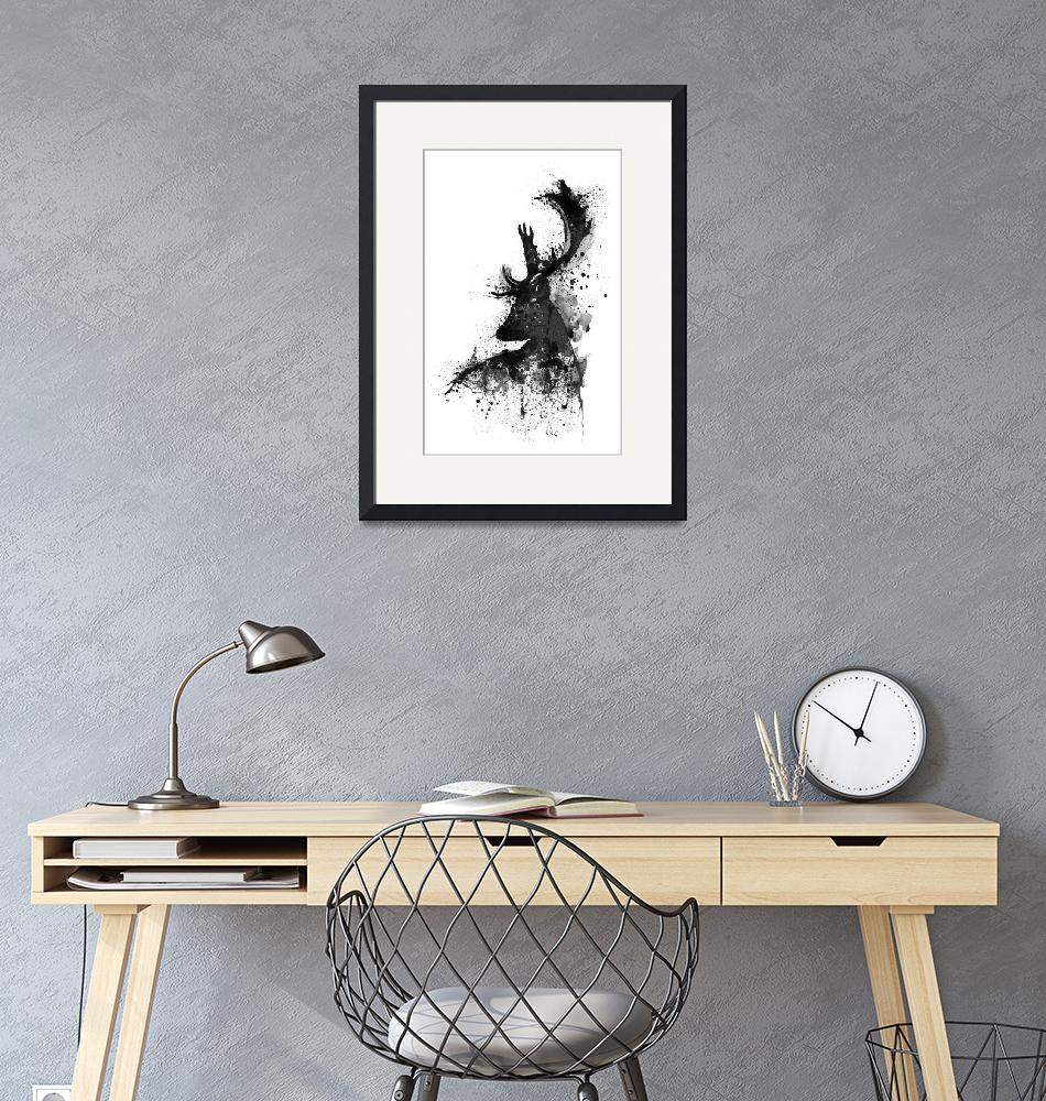 """Black And White Deer Head Watercolor Silhouette""  (2017) by MarianVoicu"