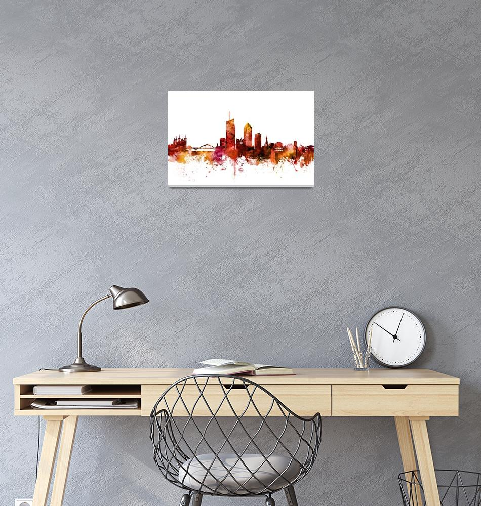 """Lyon France Skyline""  (2018) by ModernArtPrints"