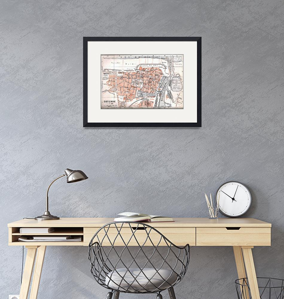 """""""Vintage Map of Ostend Belgium (1905)""""  by Alleycatshirts"""