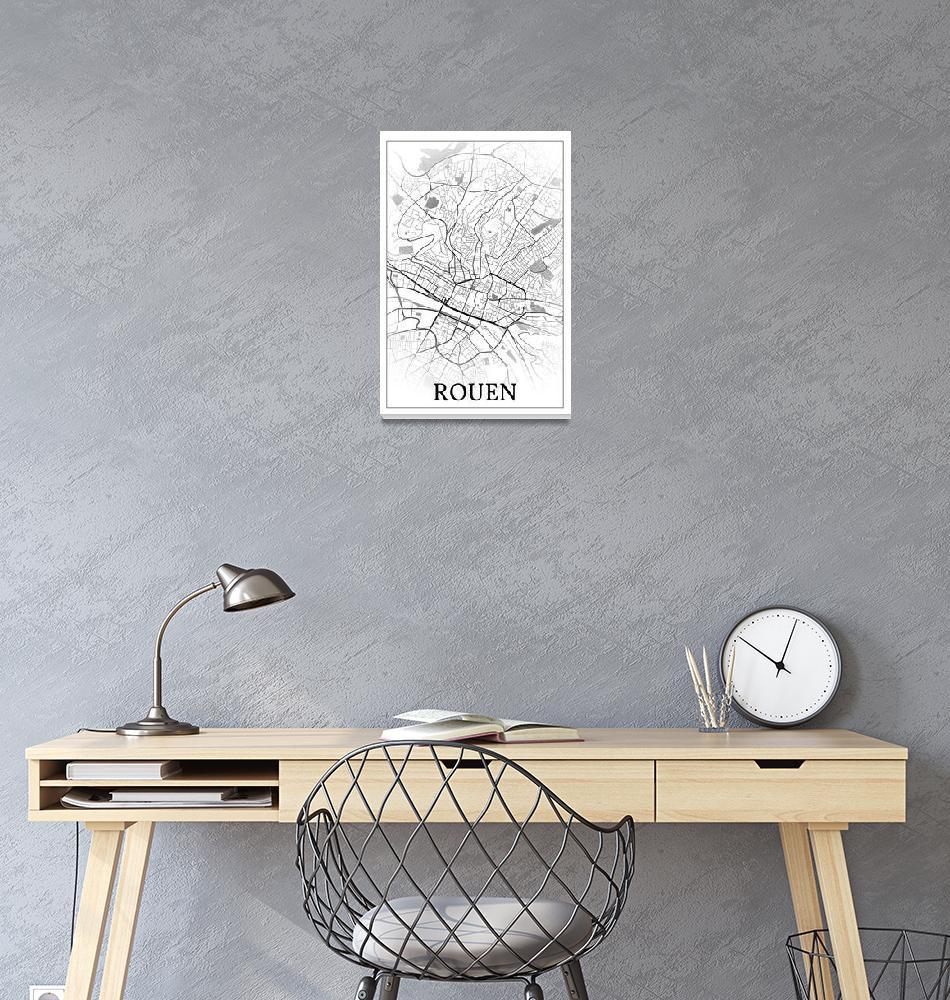 """Rouen, France, city map print."" by dandistudio"