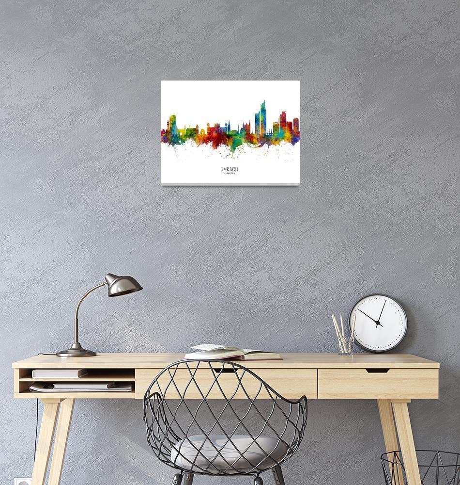 """Karachi Pakistan Skyline""  (2019) by ModernArtPrints"