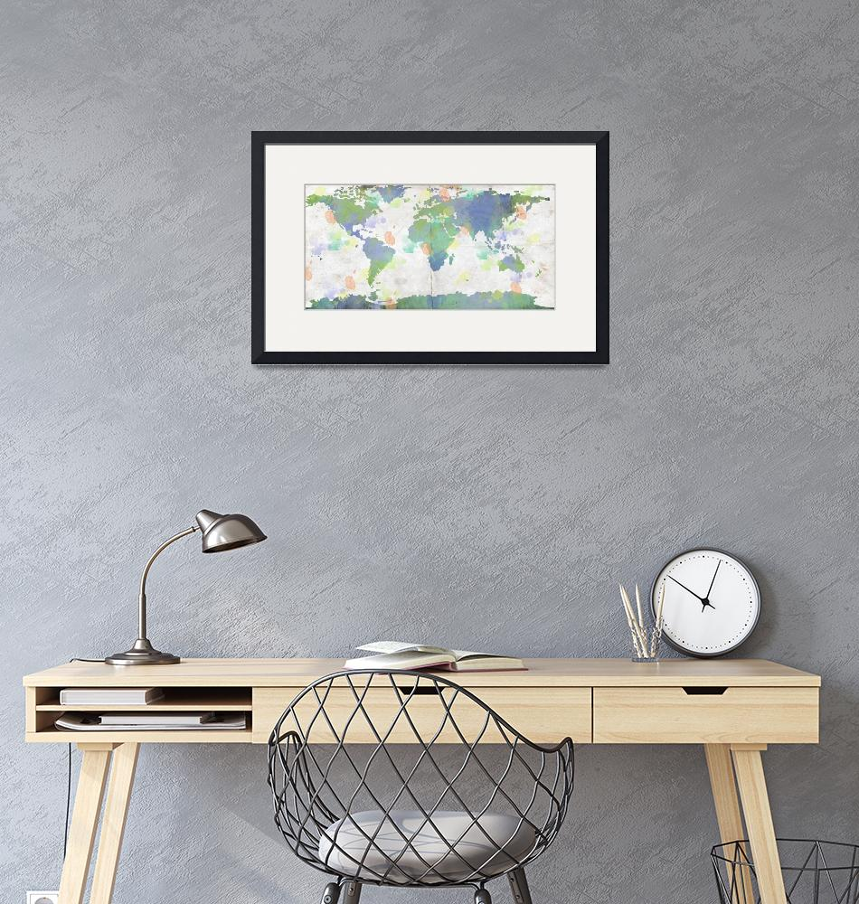 """World Map Watercolor 4""  by WrightFineArt"