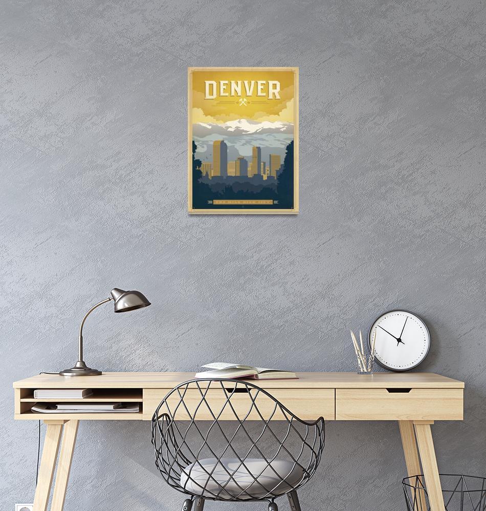 """""""Denver, Colorado Retro Travel Poster""""  by artlicensing"""