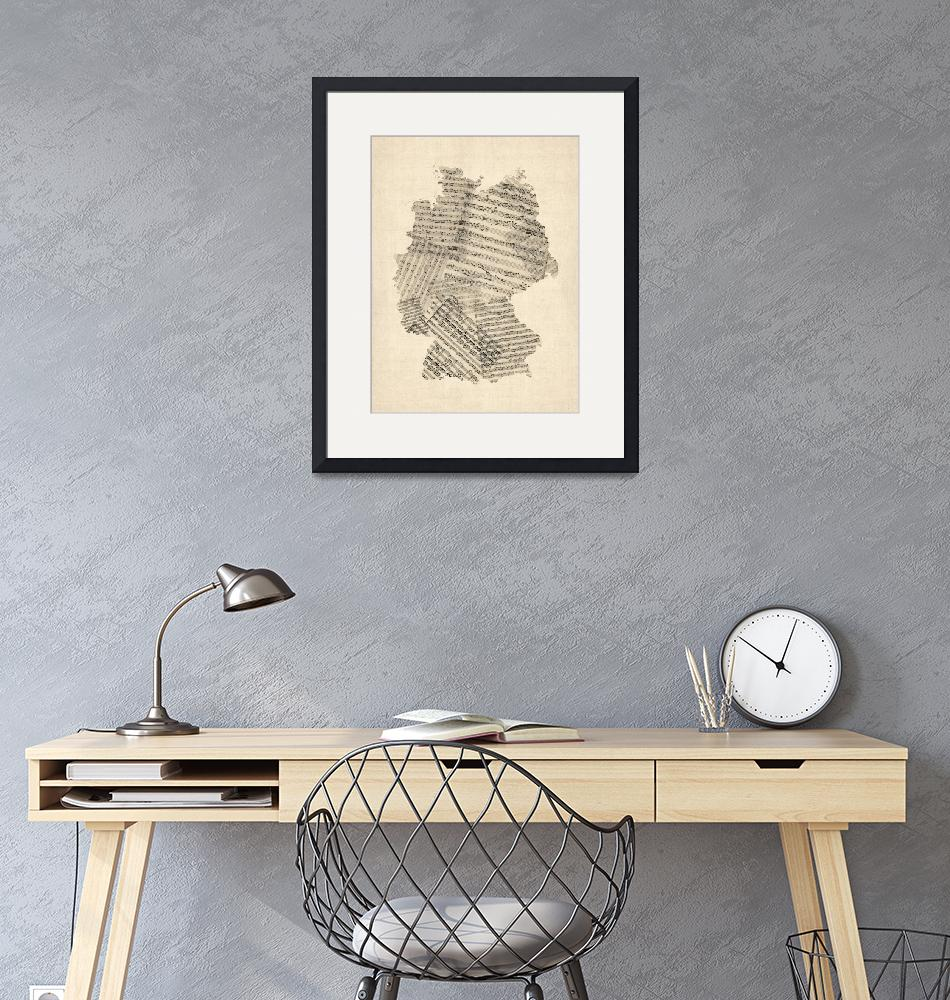 """""""Old Sheet Music Map of Germany Map"""" by ModernArtPrints"""