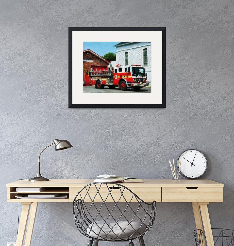 """""""Fire Engine In Front Of Fire Station""""  by susansartgallery"""