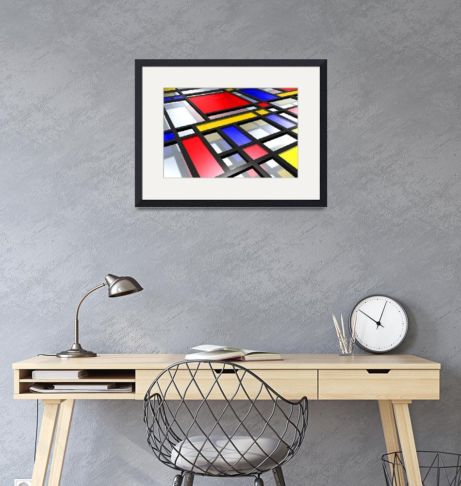 """Mondrian Inspired 3D""  (2010) by ModernArtPrints"