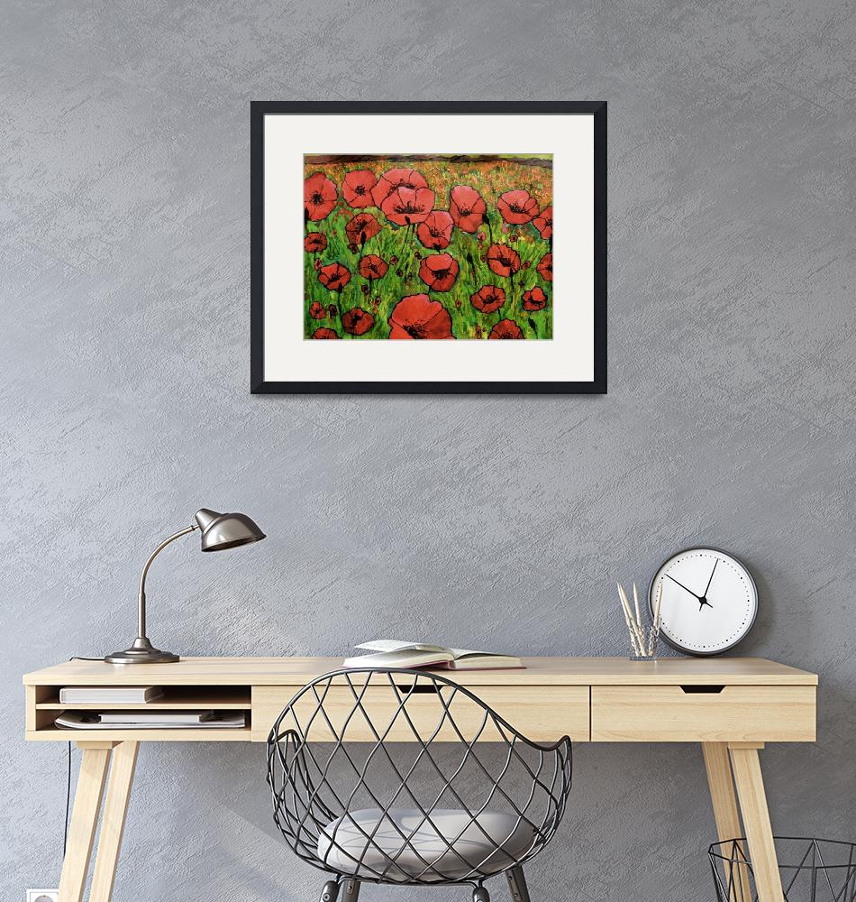 """Red Poppies in field""  (2014) by GHunter"