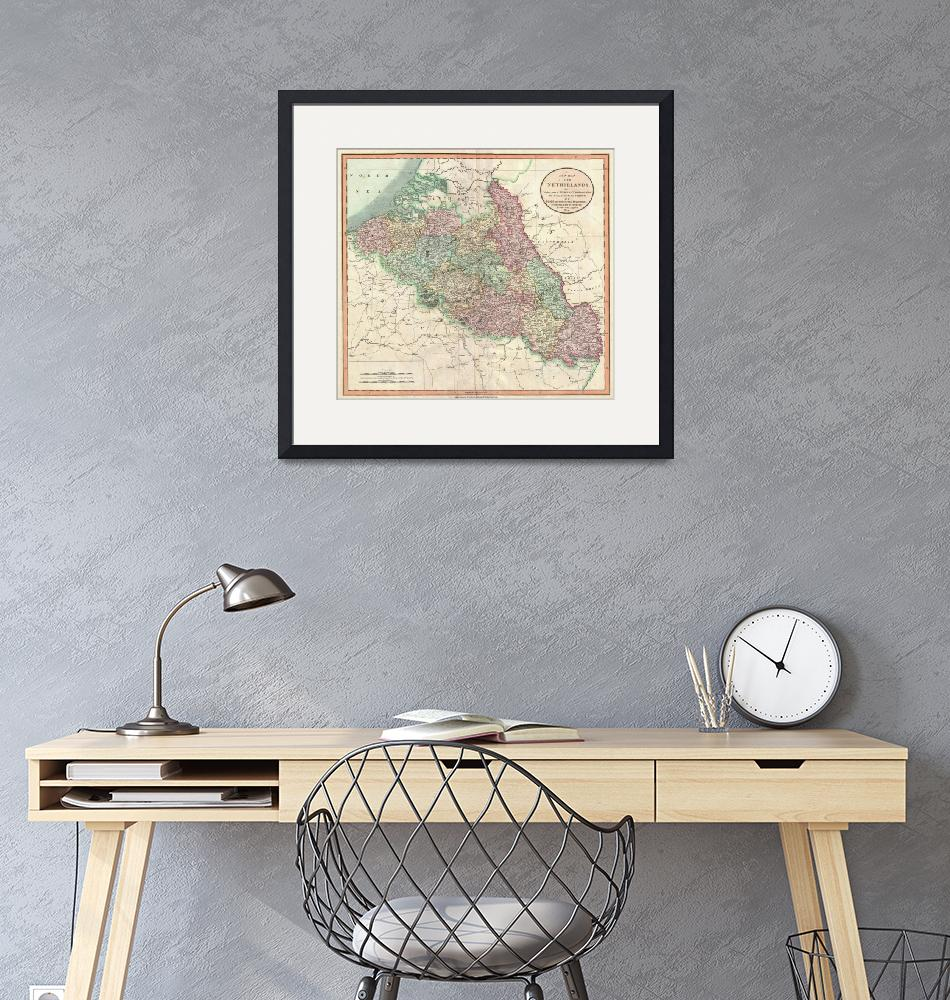 """Vintage Map of Belgium & Luxembourg (1804)""  by Alleycatshirts"