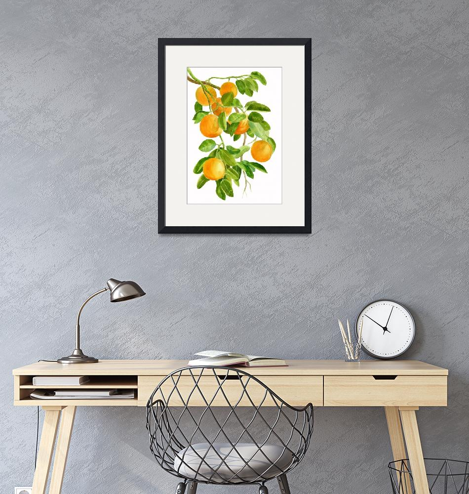 """Oranges on a Branch""  (2016) by Pacific-NW-Watercolors"