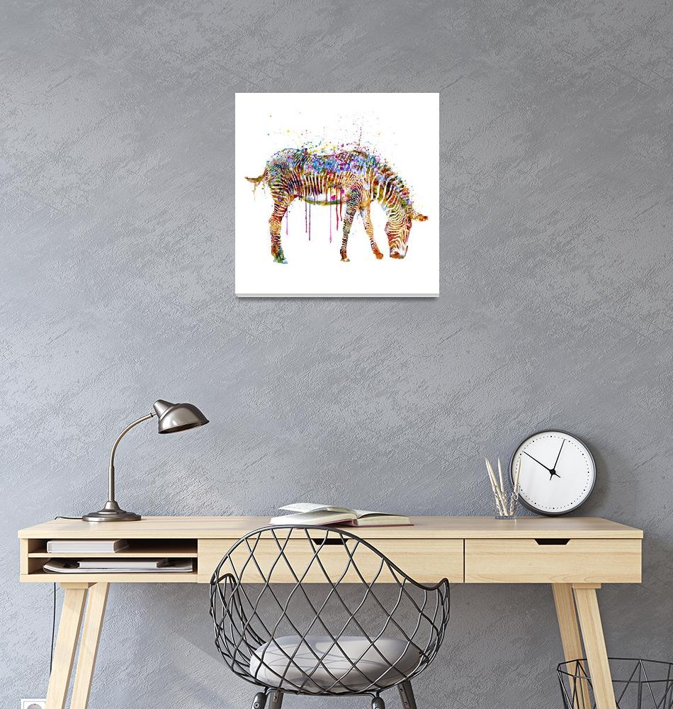 """""""Zebra Watercolor Painting""""  (2015) by MarianVoicu"""