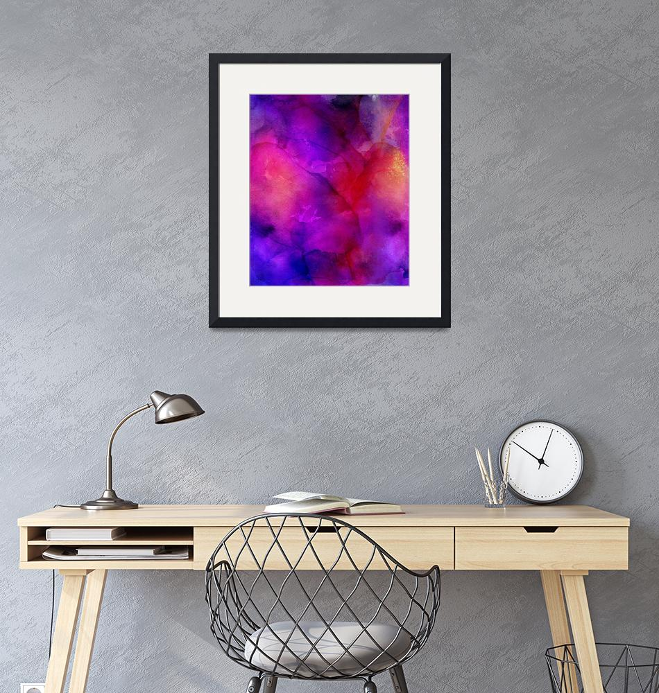 """Purple, Blue, Red And Pink Fluid Ink Abstract Art""  by fineartgallery"